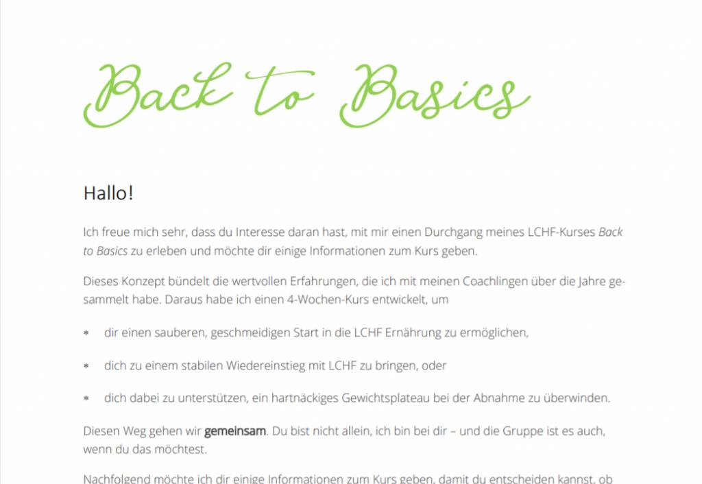 Vorschaubild zur InfoPDF über Back to Basics - Textauszug